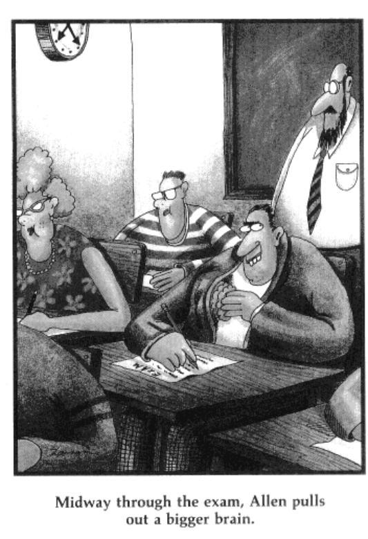 exams cartoon brain
