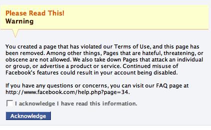 facebook warning unjustified sucks admin