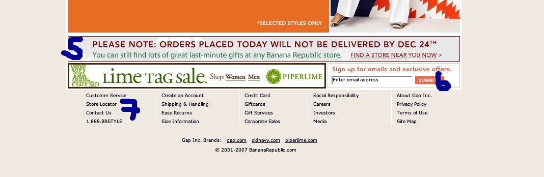Banana Republic website sucks bad branding