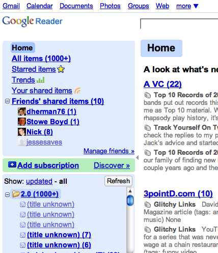 google reader trends top blogs rss