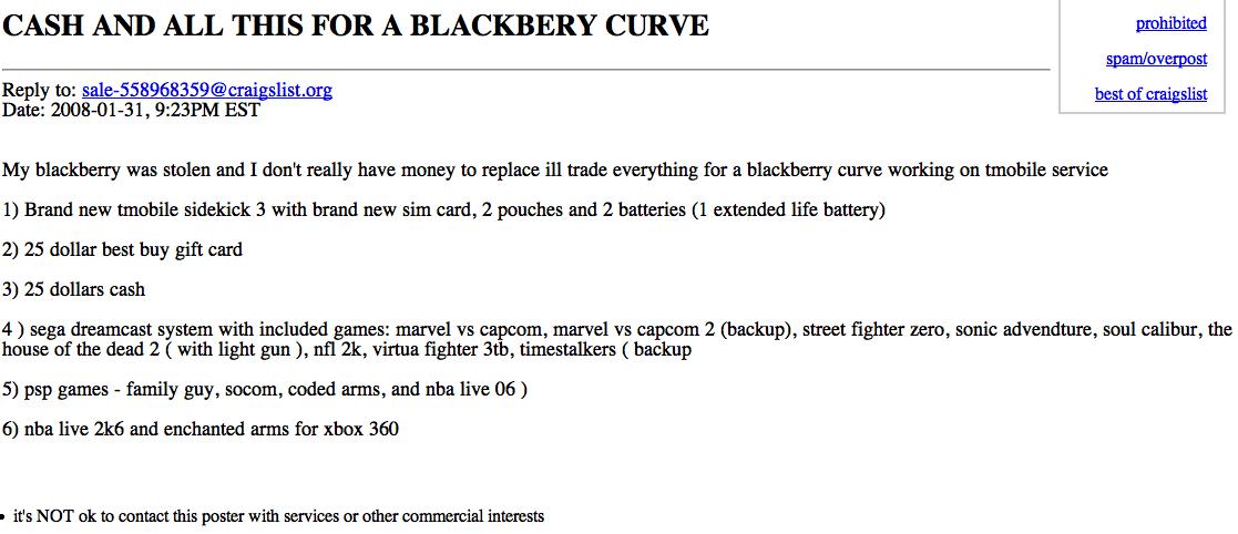 blackberry curve desperate barter trade craigslist
