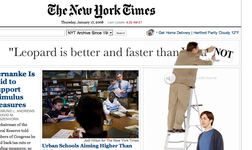 mac vs. pc guy new york times advertisement interactive