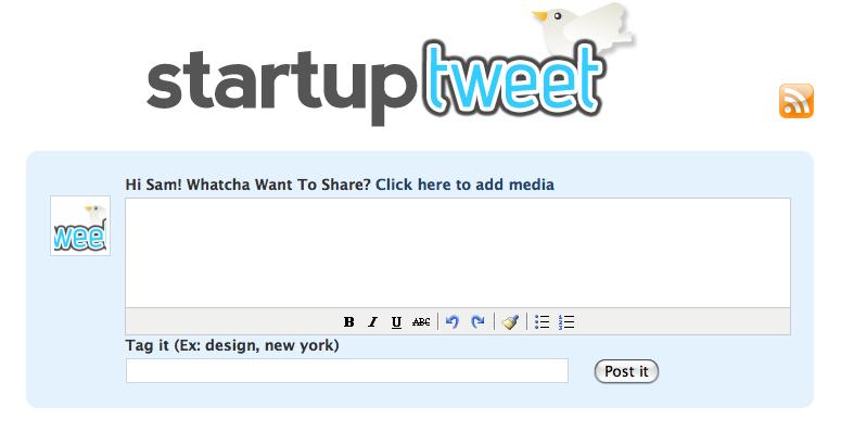 startuptweet-screen-shot